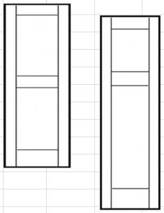 филёнчатые ставни с прямой верхней вставкой 305 х 787мм (ПАРА)